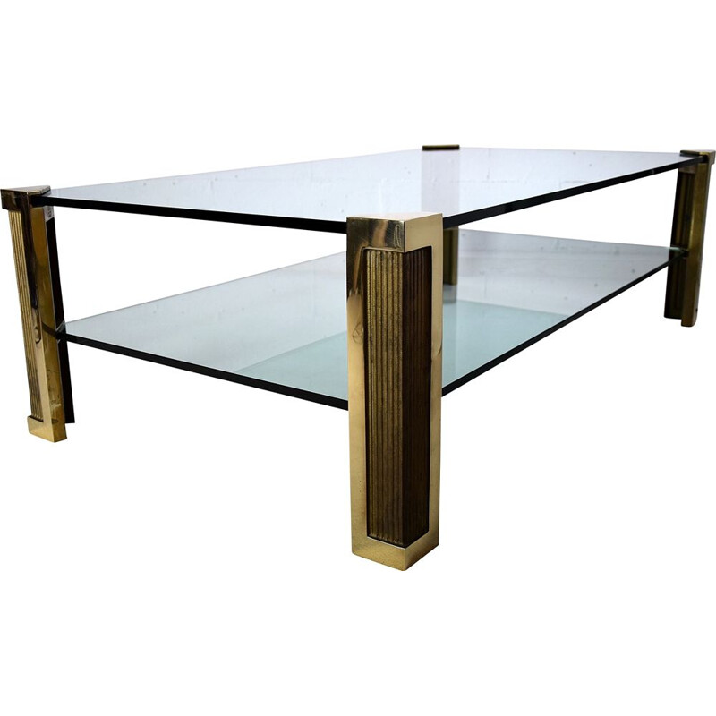 Vintage brass and glass two tier Coffee Table Hollywood Regency 1970s