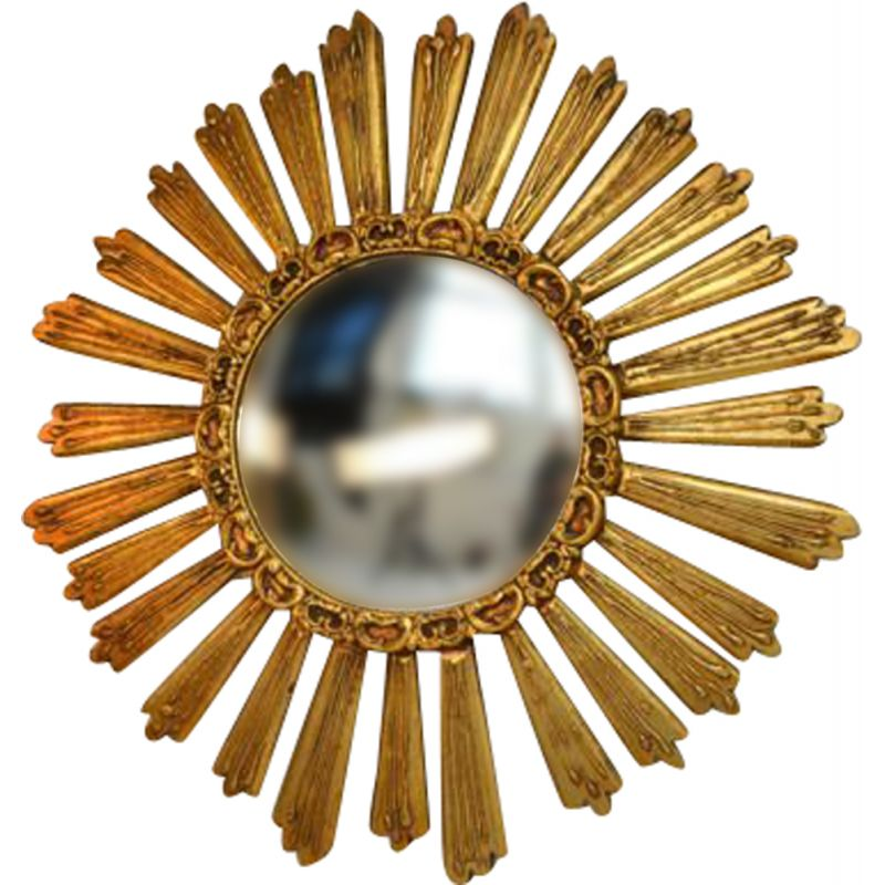 Vintage gilded wood witch's mirror 1950's