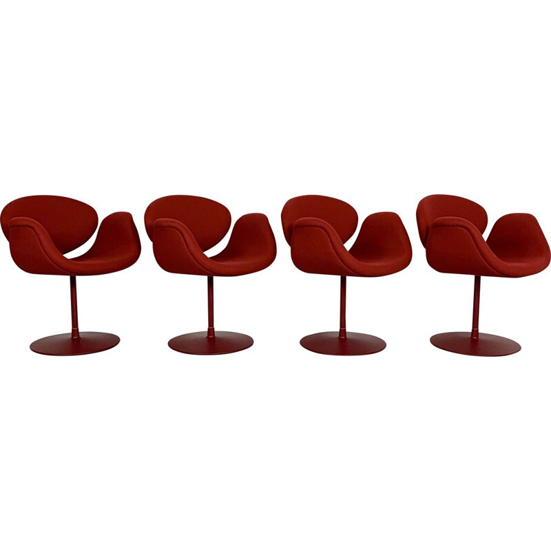 Vintage set de 4 Red Tulip Chairs by Pierre Paulin for Artifort, 1970s