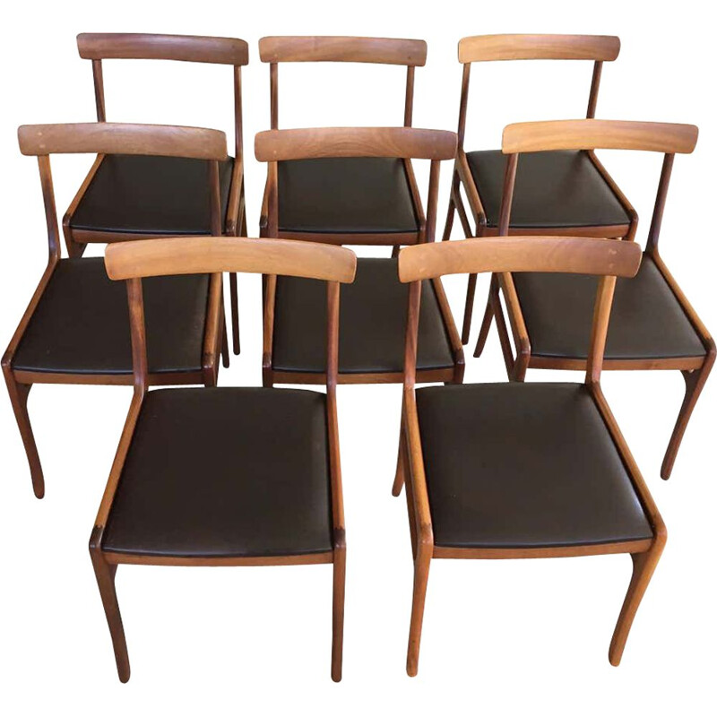 Set of 8 vintage Refinished Mahogany Dining Chairs, by Ole Wanscher Inc
