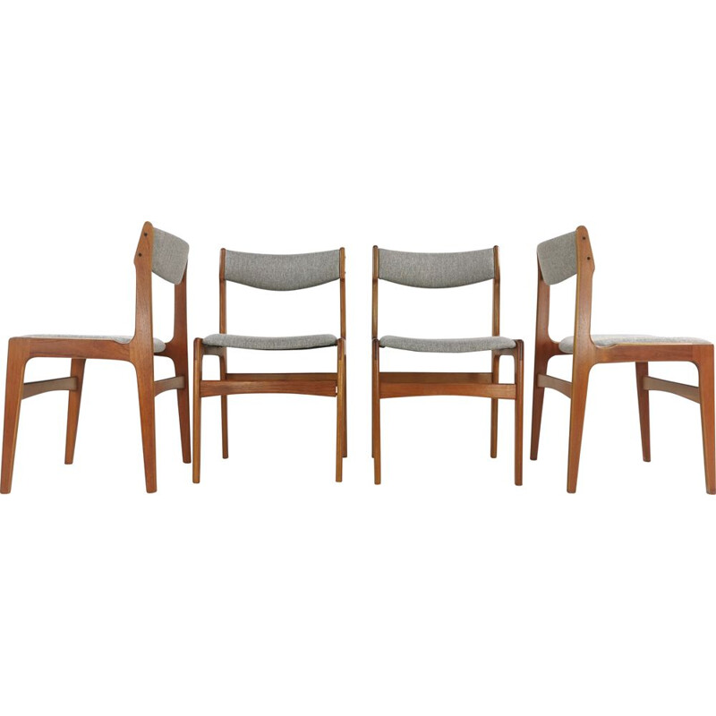 Set of 4  Teak Dining Chairs by Erik Buch Grey Herringbone
