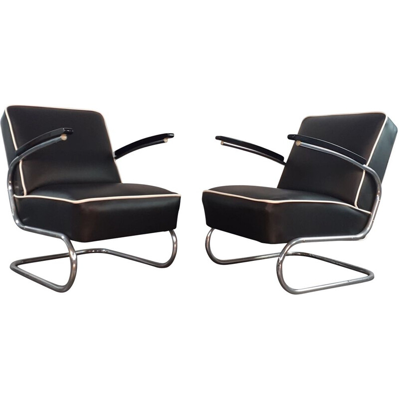 Pair of Vintage Leather Armchairs K29 by Slezak, by Gispen Thonet 411, Czech 1950