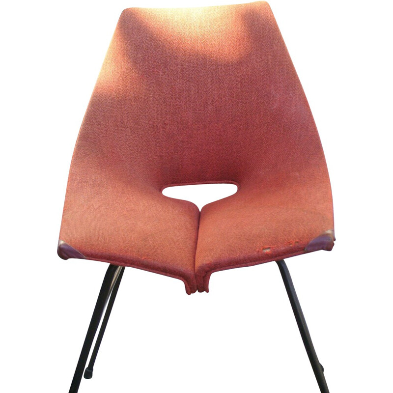 Industria di Legni Curvati-Lissone metal and red fabric chair, Carlo RATTI - 1950s