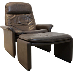 "De Sede ""DS-50"" adjustable lounge chair and its ottoman - 1970s"