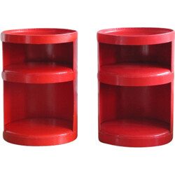 Pair of Marty L.A.C red bedsides in cardboard celloderm, Jean-Louis AVRIL - 1970s