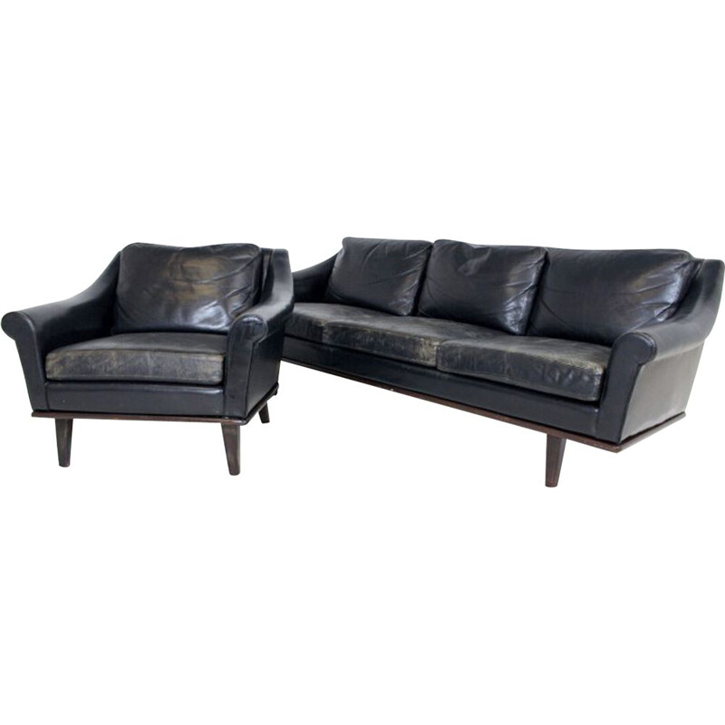 Vintage 3-seater sofa and armchair set in Scandinavian leather, Sweden, 1960