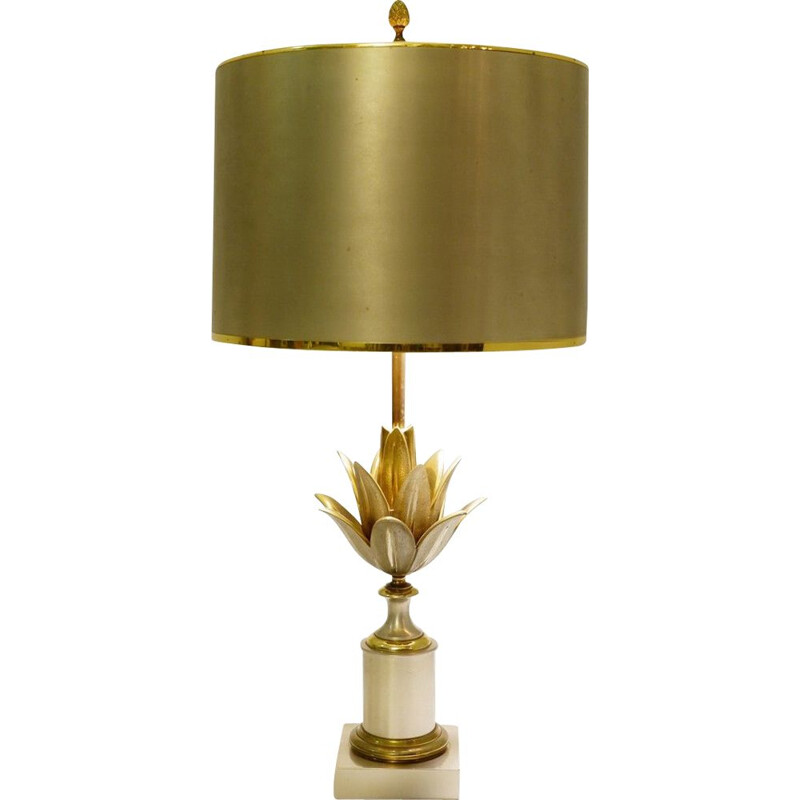Vintage Lotus Brass Desk Lamp from Maison Charles, 1960s