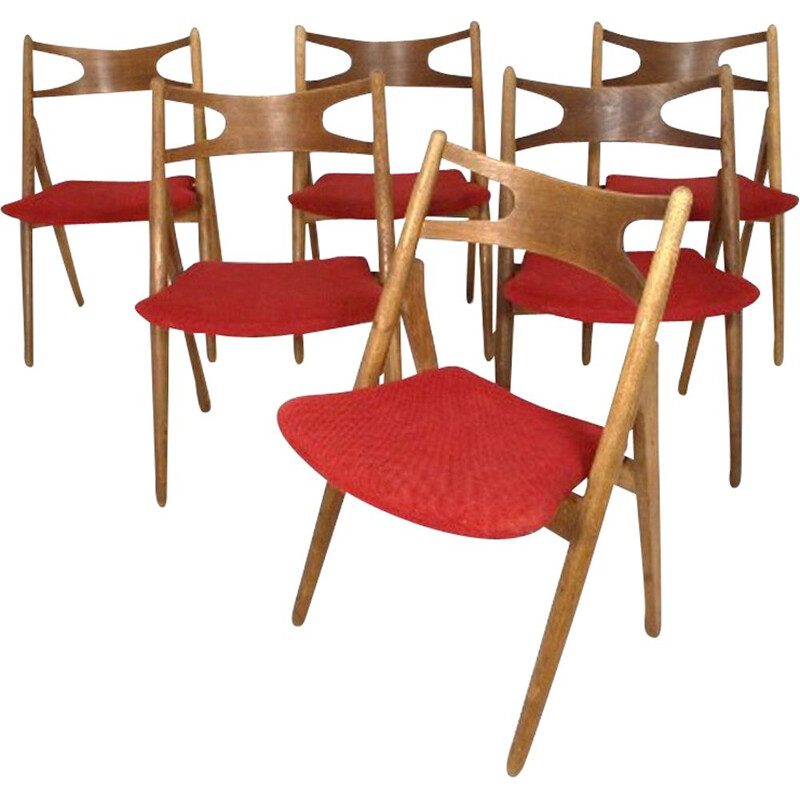 Set of 6 vintage 'Sawbuck CH29' teak chairs, Hans J. Wegner, Carl Hansen and Son, 1960