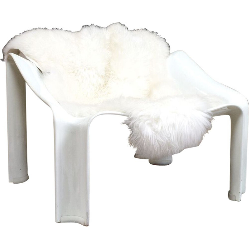 Vintage Lounge Armchair Pierre Paulinin white sheepskin model F300 1967