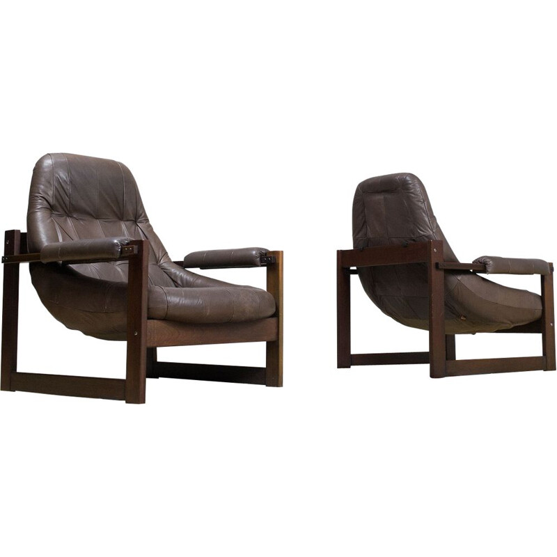 Pair of Percival Lafer vintage leather and brown wood lounge armchairs 1960