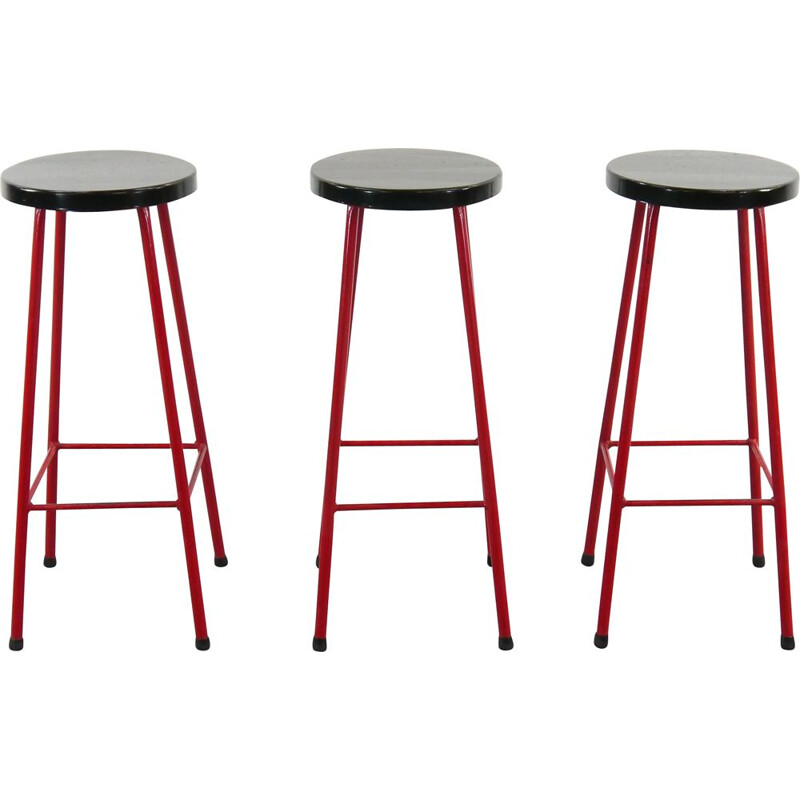 Midcentury Set of 3 Bar Stools in Red and Black, 1970s
