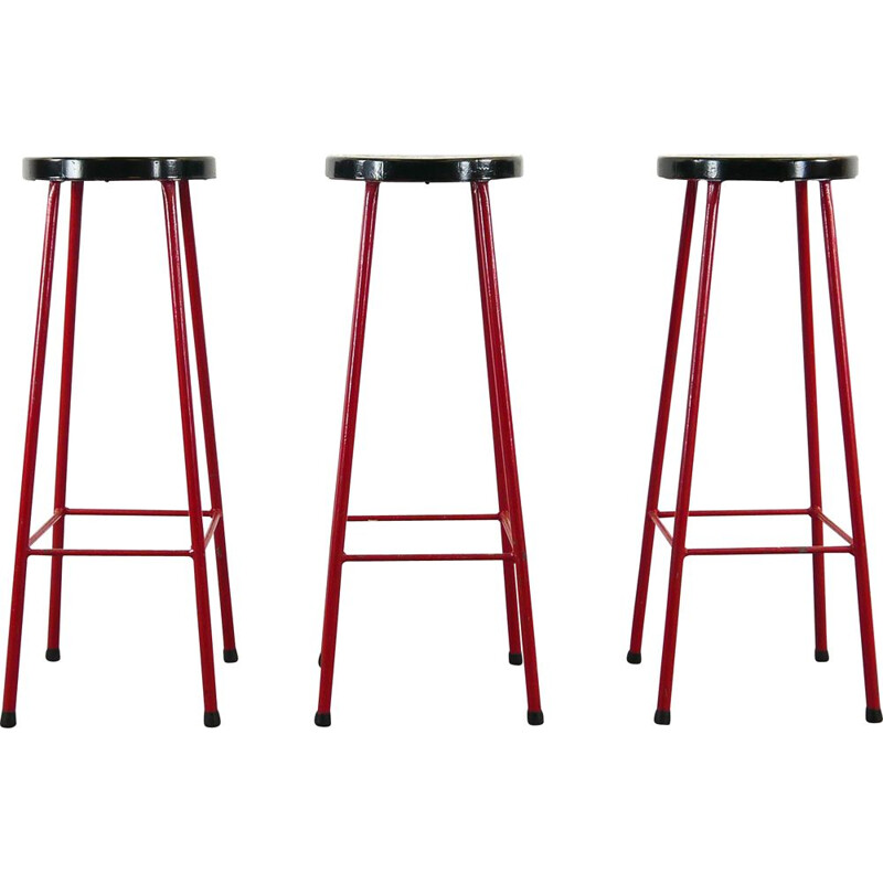 Mid Century Set of 3 Bar Stools in red and black,1970s