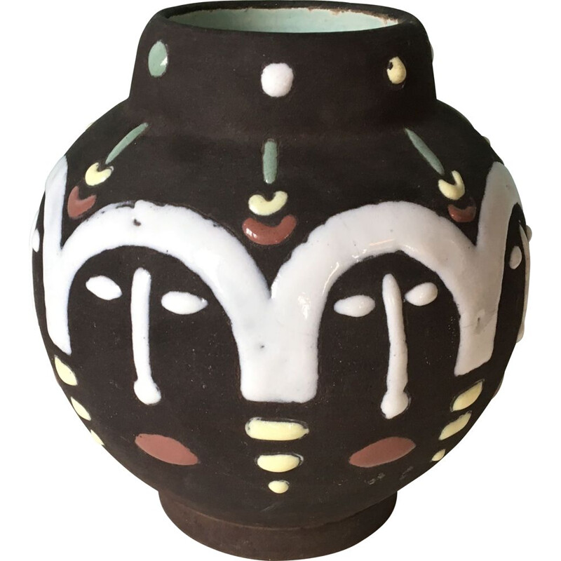 Vintage ethnic vase in polychrome glazed ceramic
