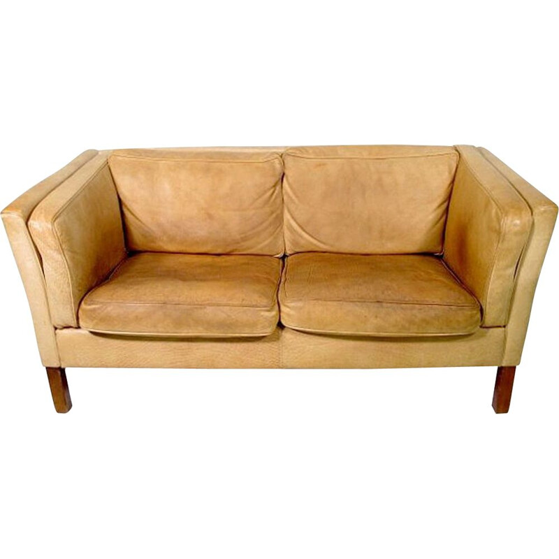 Vintage 2-seater leather sofa 1970