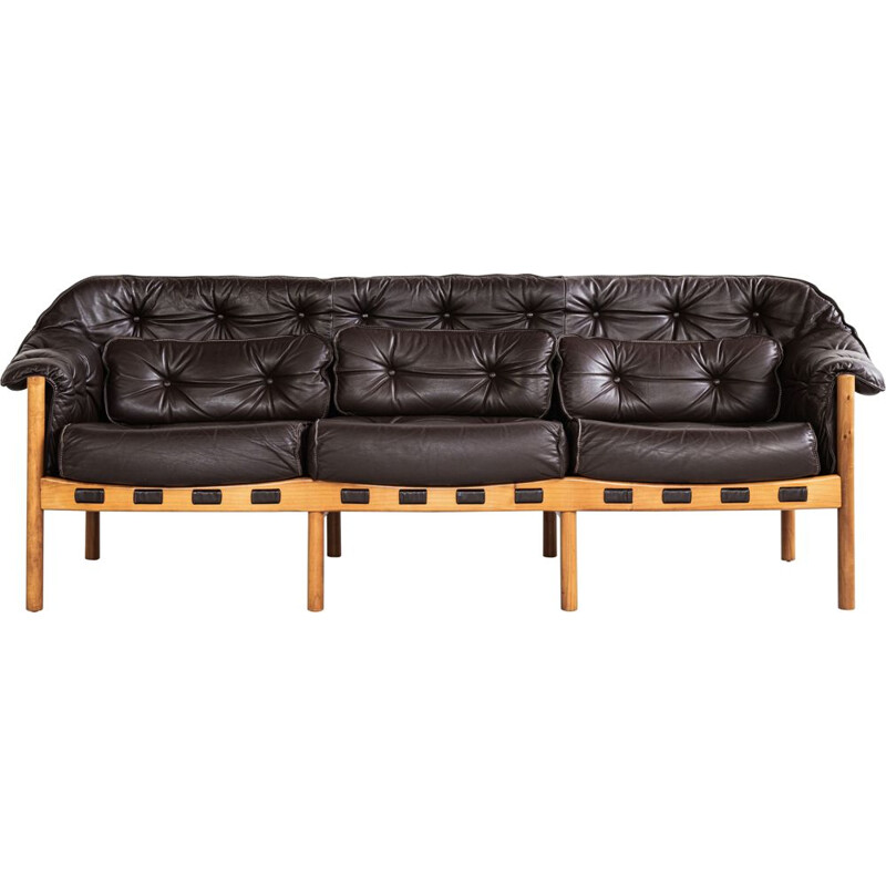 Midcentury sofa in teak and leather by Arne Norell 1960
