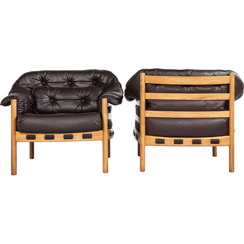 Midcentury pair of easy chairs in teak and leather by Arne Norell 1960