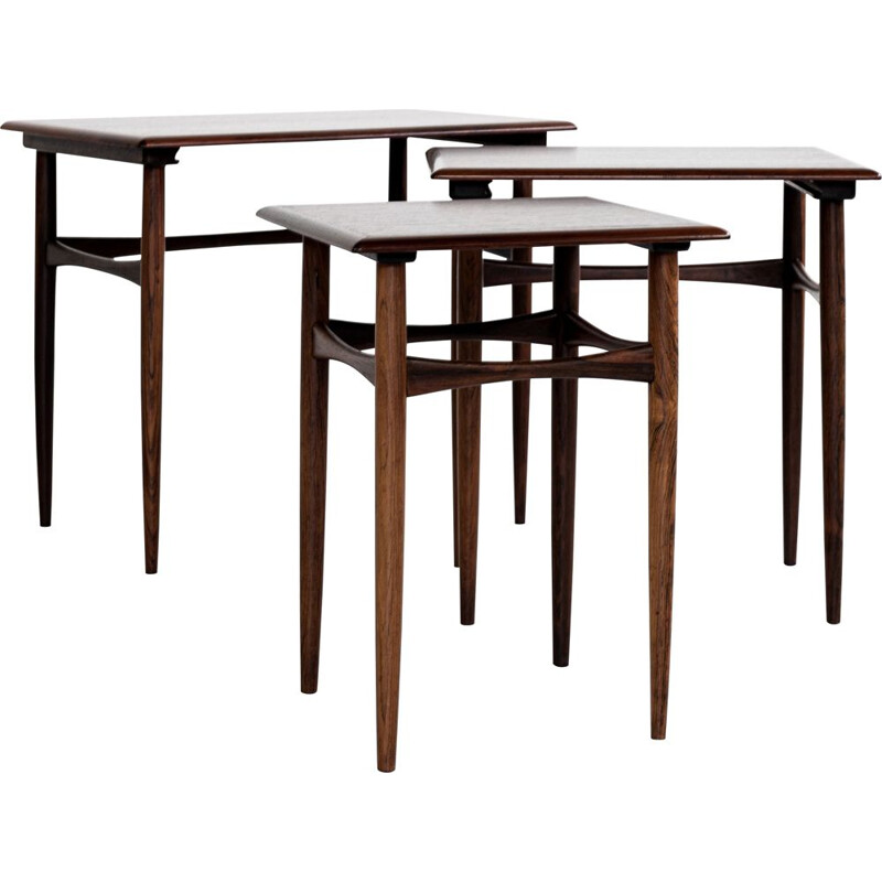 Midcentury nest of 3 side tables in rosewood by Poul Hundevad Danish 1960s