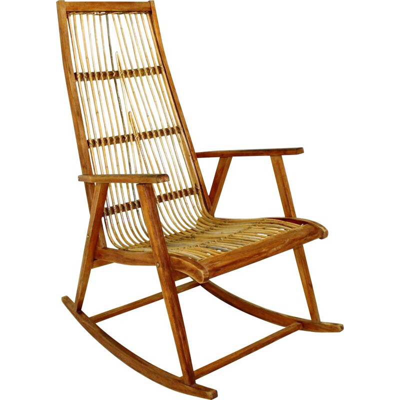 Vintage beech and rattan Rocking-Chair, Sweden, 1960
