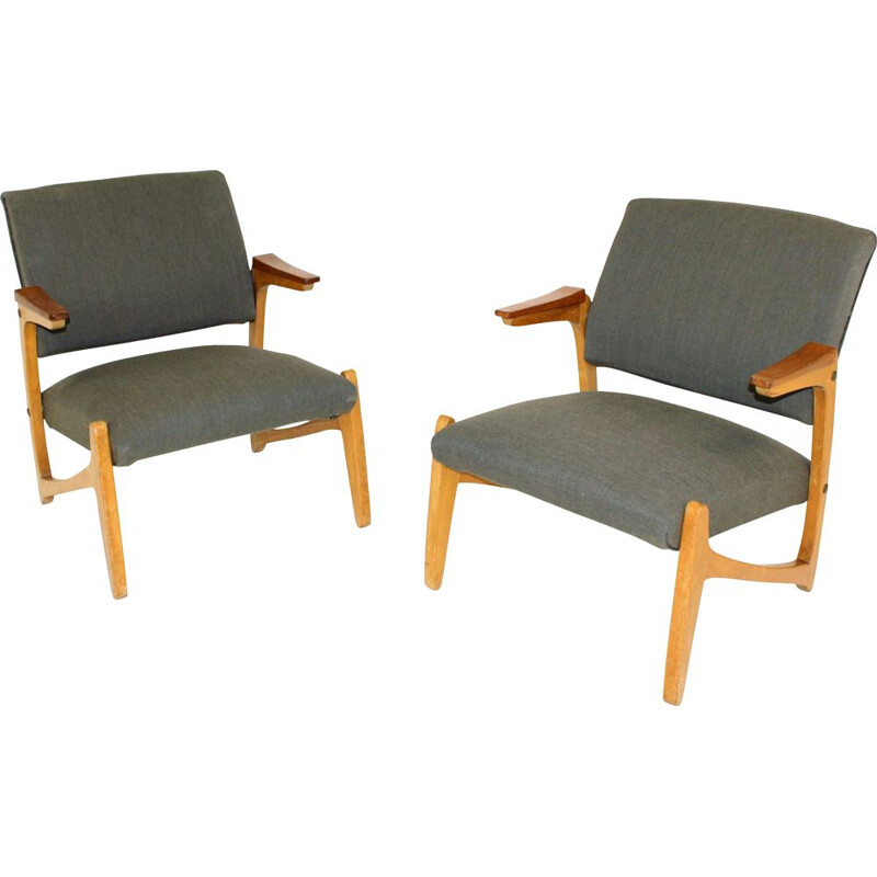 Pair of vintage teak and beech armchairs, Sweden, 1950