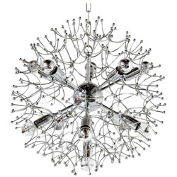 Italian chandelier in chromed metal, Gaetano SCIOLARI - 1960s