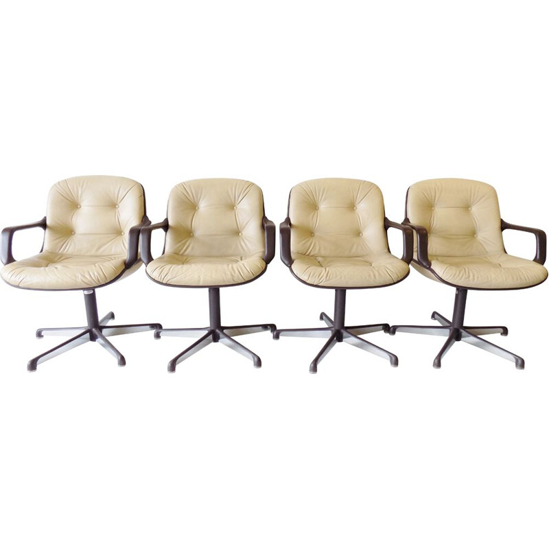 Vintage set of 4 Comforto executive leather diningoffice chairs by Charles Pollock 1960