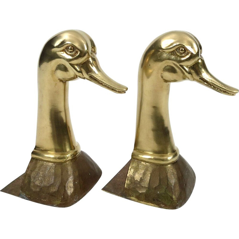 Pair of vintage brass book ends, 1960s