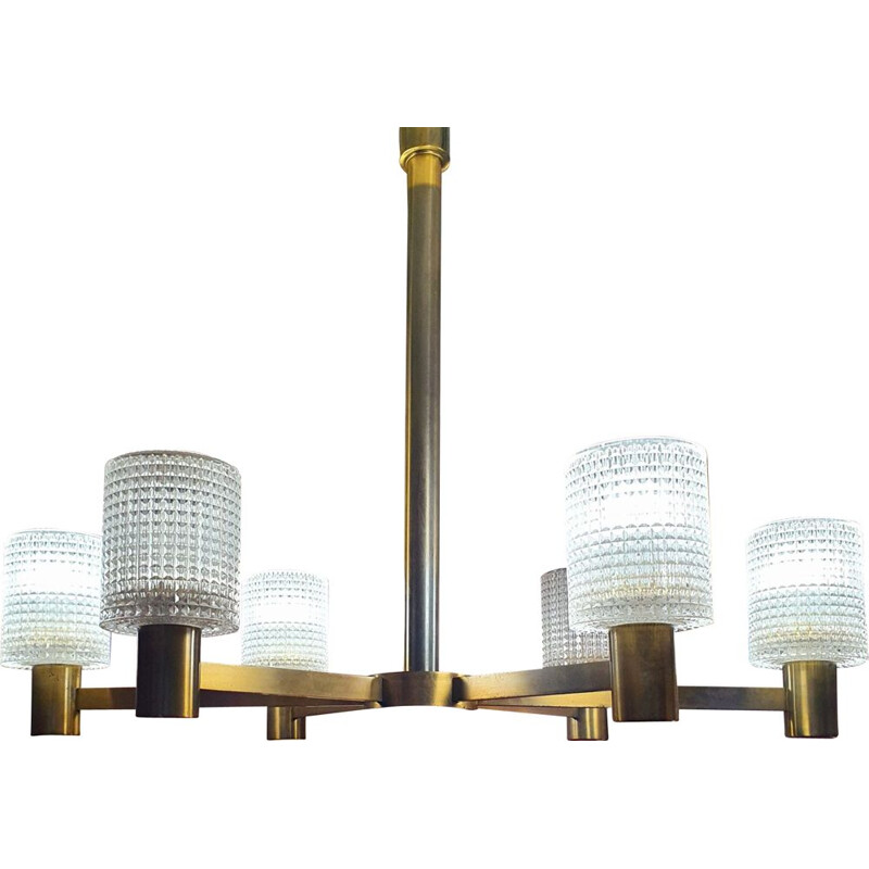 Vintage Hanging lamp By Carl Fagerlund - Orrefors - 6 Arms Of Light - Crystal and Brass - 1950