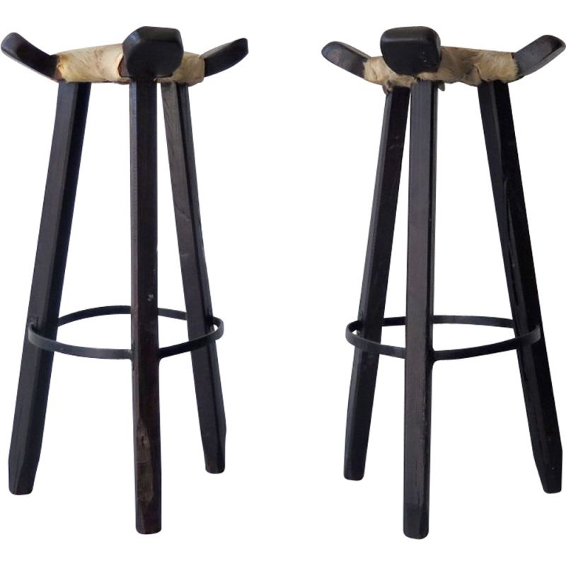 Pair of vintage high stools in cow leather and wood 1950