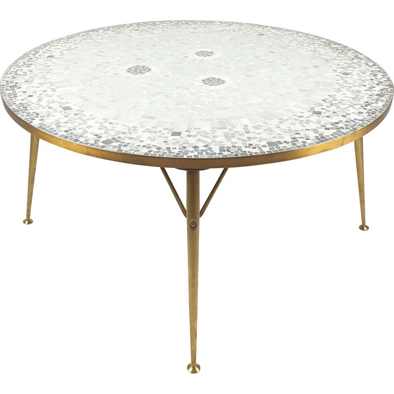 Vintage Round Mosaic Coffee Table by Berthold Müller, 1950s