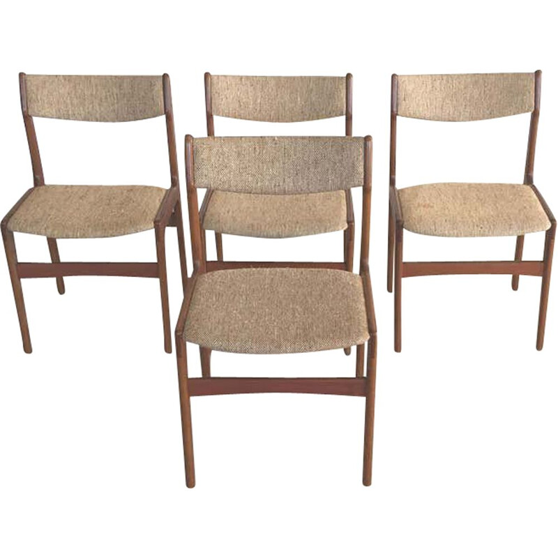 Set of 4 Teak Dining Chairs Inc. Reupholstery Erik Buch 1960s