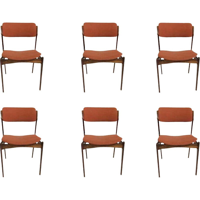 Set of 6 Dining Chairs by Oddense Maskinsnedkeri Erik Buch Rosewood 1960s