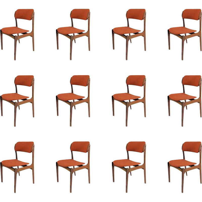 Set of 12 Dining Chairs, Rosewood Inc. Re-Upholstery Erik Buch 1960s