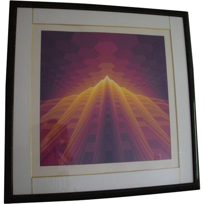 Vintage Lithograph Yvalar Vasarely signed in pencil
