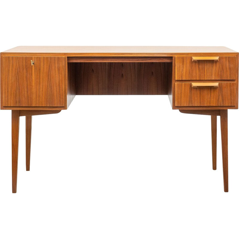 Vintage desk in walnut solid wooden handles, 1960s
