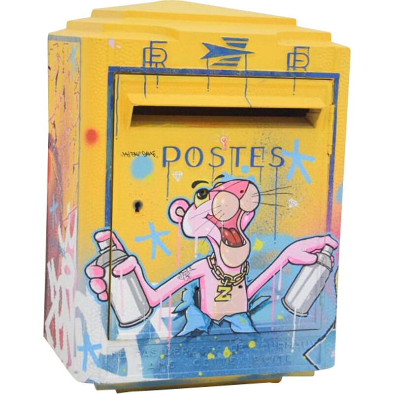 Vintage mailbox by Zenoy Street Art 3 D Graff Pink Panther Painting