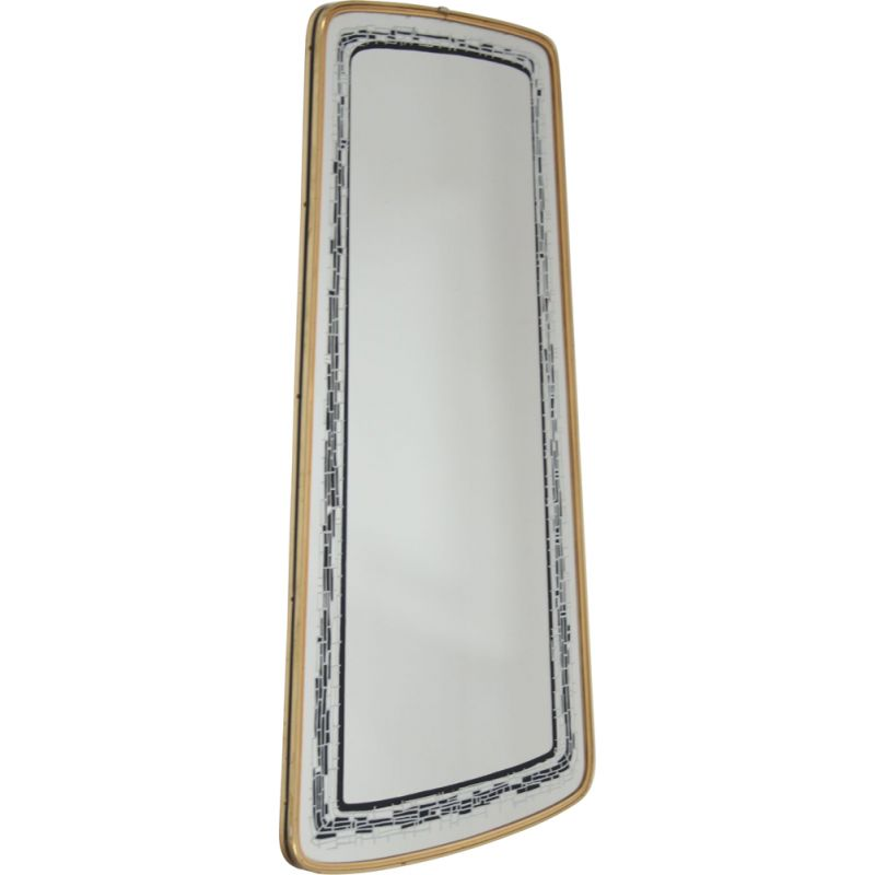 Vintage Elongated Wall Mirror with black gray decoration edge