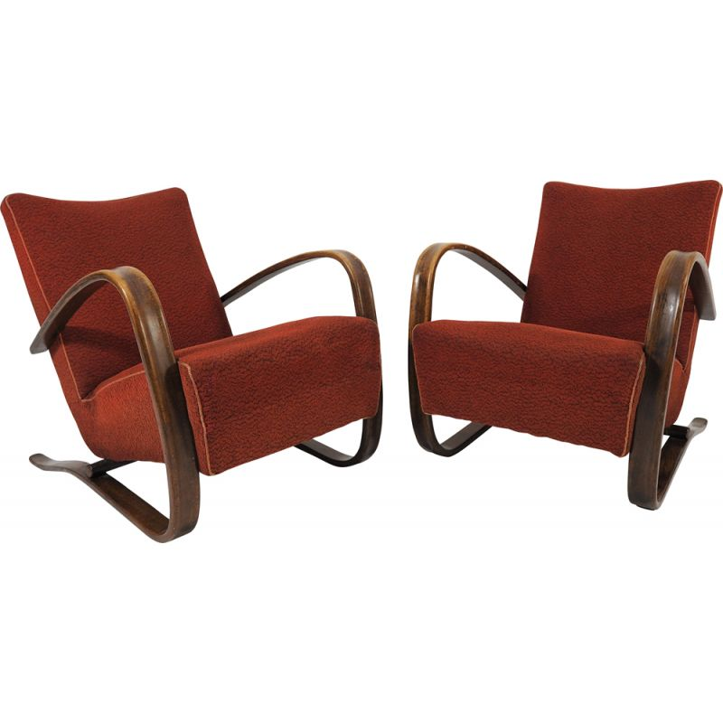 Pair of vintage Lounge Chairs by Jindrich Halabala H 269, 1930s