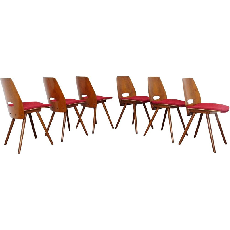 Set of 6 vintage dining chair by Frantisek Jirak Czechoslovakia 1960s