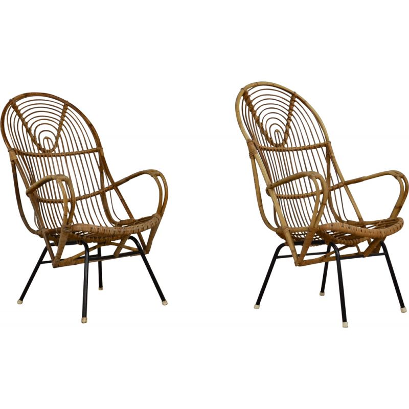 Pair of Vintage Armchair from Rohe Noordwolde, Rattan  1960s