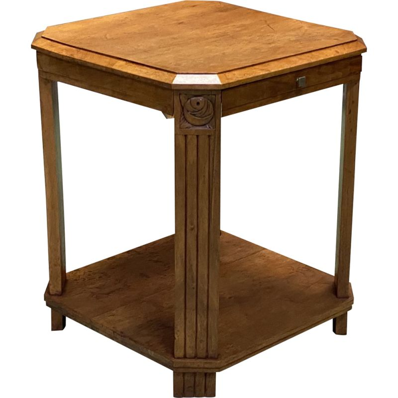 Vintage walnut Art Deco pedestal table