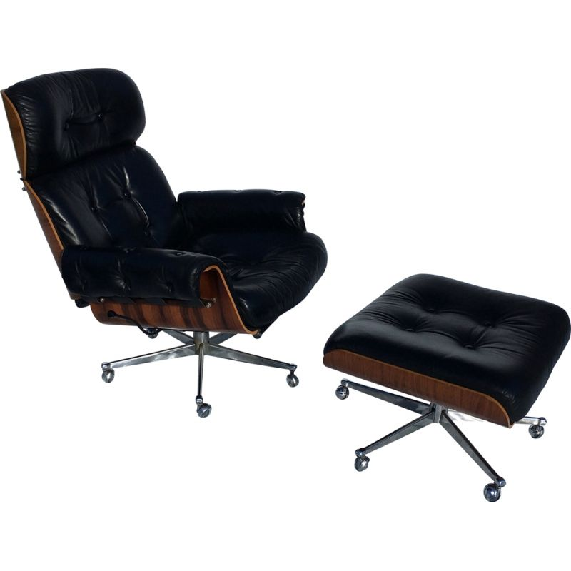 Vintage leather armchair and ottoman rosewood stoll 1960