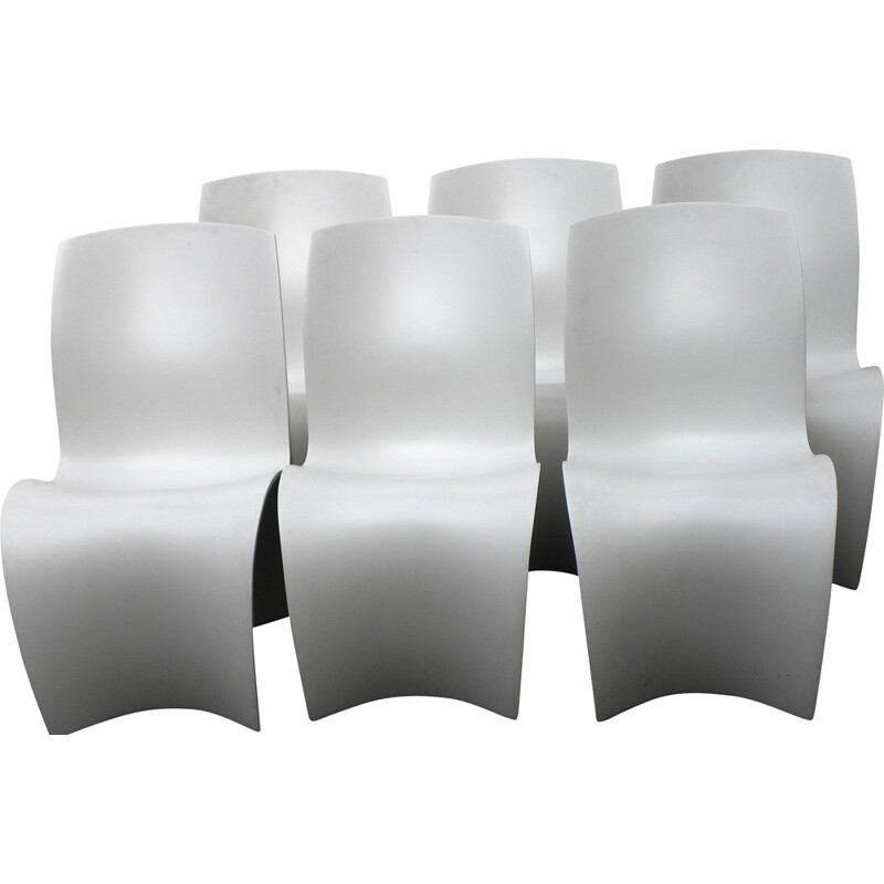 "Set of six ""Three Skin"" chairs in beech, Ron ARAD - 1990s"
