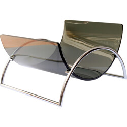 "Magazine rack model ""Space Age"" in smoked glass and chrome metal - 1970s"