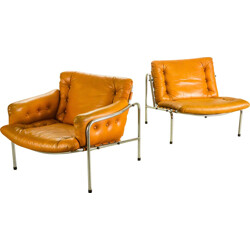 "Set of Spectrum ""Osaka and Kyoto"" lounge chair in chromium and leather, Martin VISSER - 1960s"