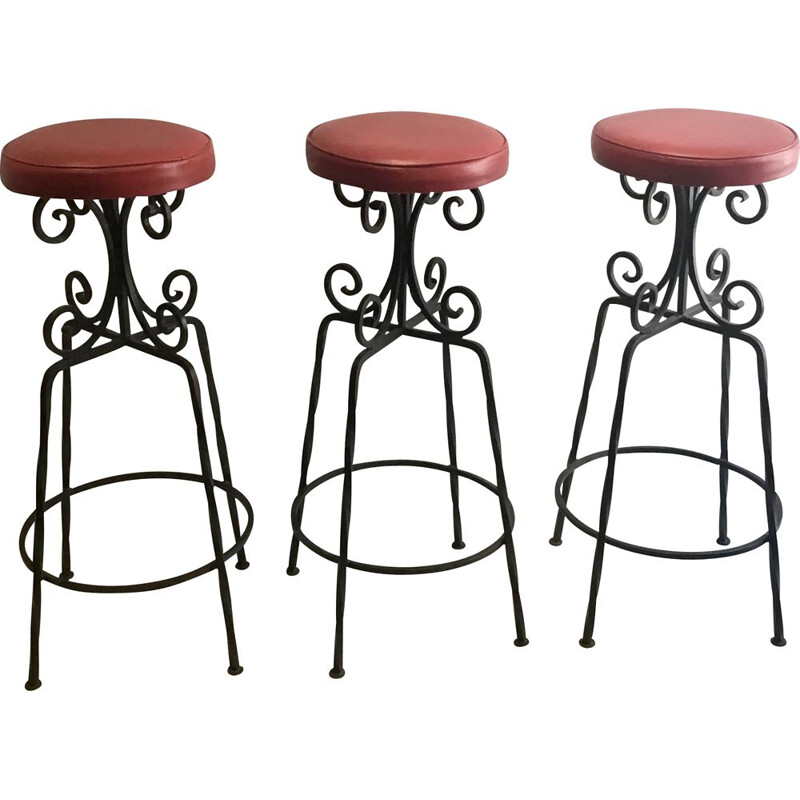 Set of 3 vintage bar stool brutalistic metal 1960