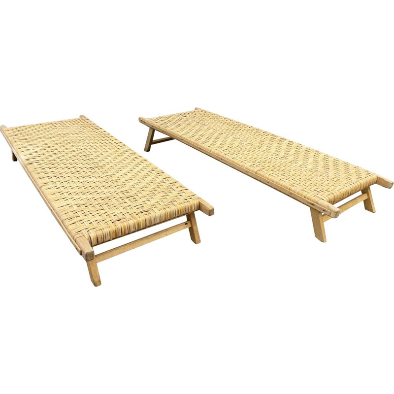 Vintage little Rattan Lounger, Sun Lounger, Child Lounger or Coffee Table 1970s