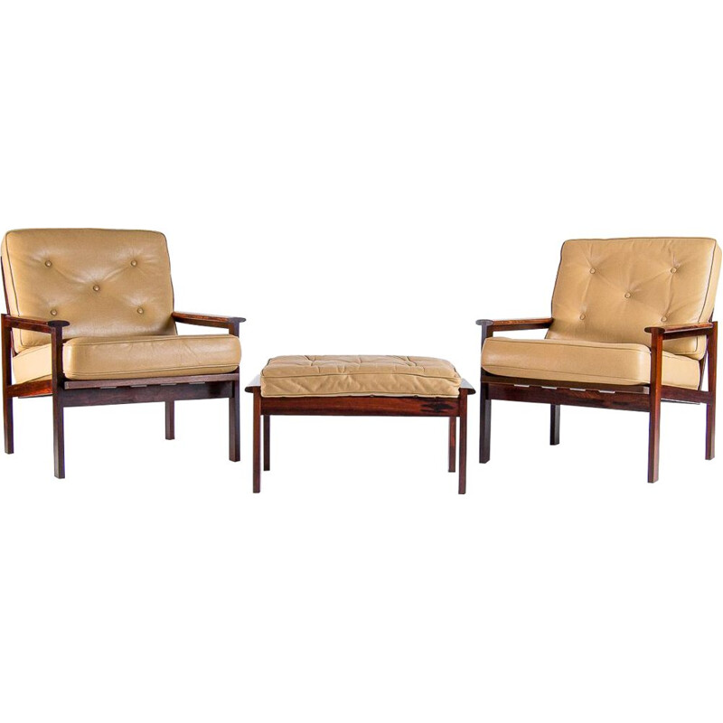 Mid Century Armchairs and Footstool by Illum Wikkelso for Niels Eilersen, Danish 1960s