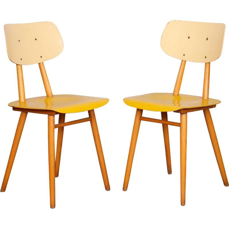 Pair of vintage chairs by Ton, 1960