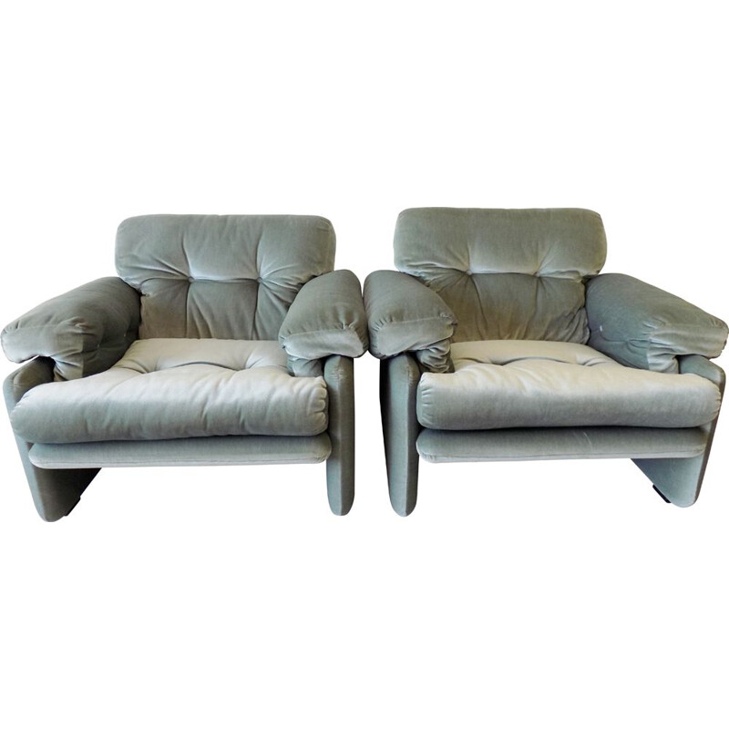 Pair of Coronado vintage icegreen armchairs by Afra and Tobia Scarpa for C and B Italia