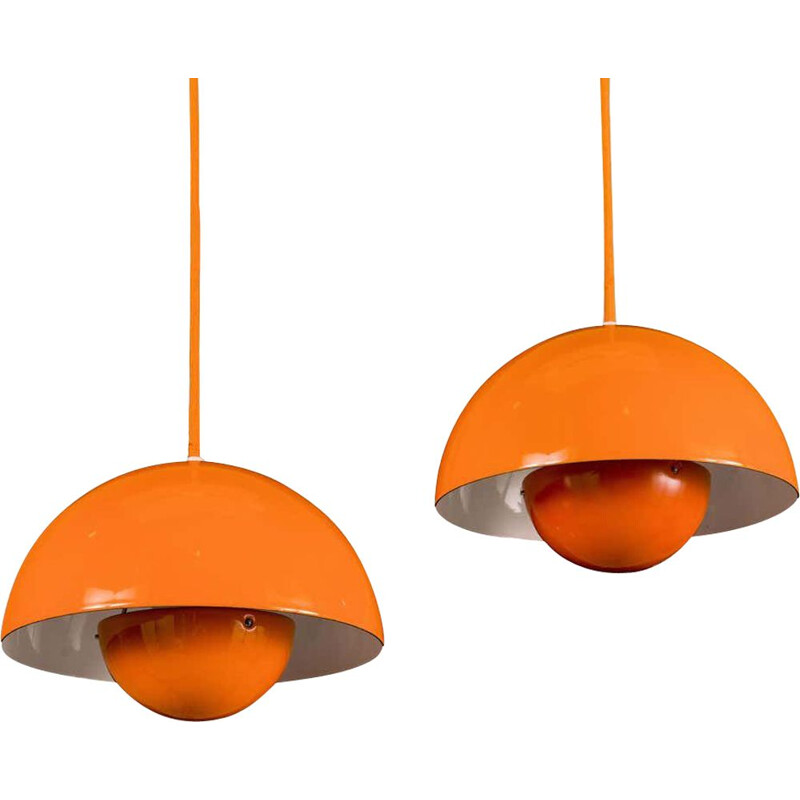 Pair of vintage enamel flowerpot suspension for Louis Poulsen by Verner Panton Denmark 1970s
